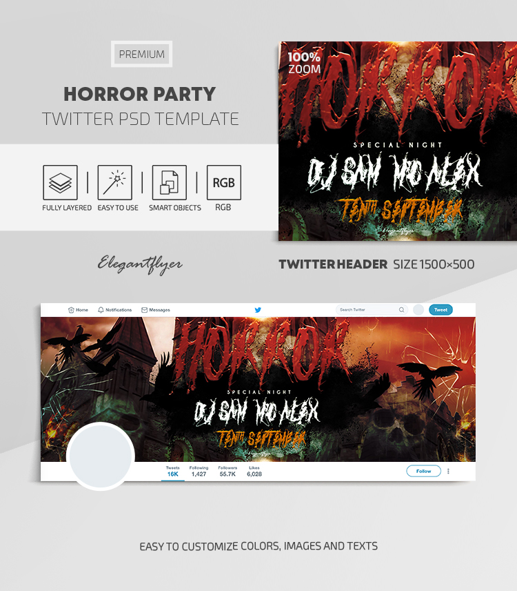 Horror Party – Twitter Header PSD Template