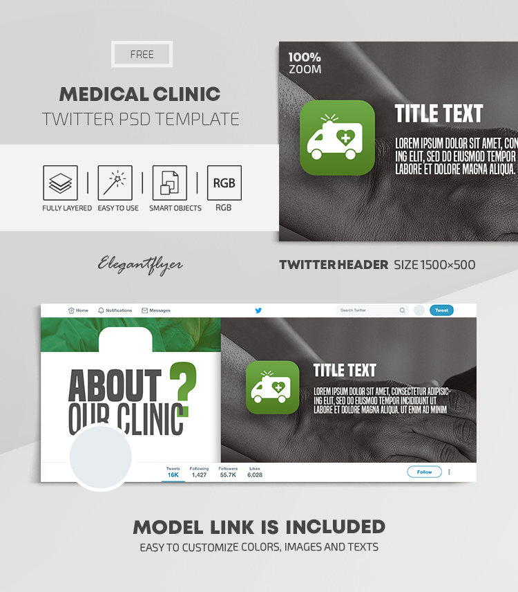 Medical Clinic – Free Twitter Header PSD Template