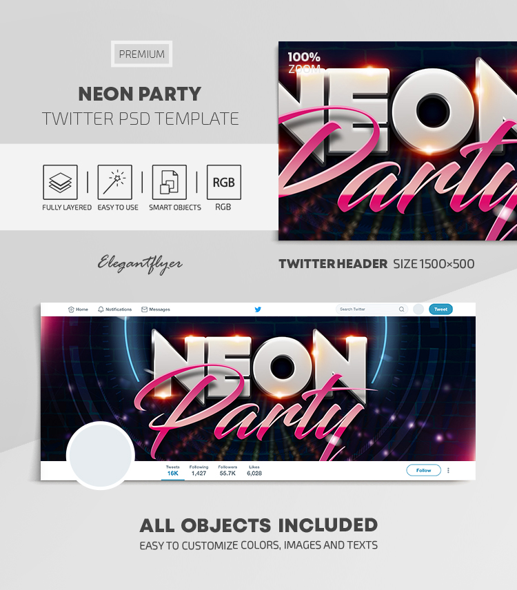 Neon Party – Twitter Header PSD Template