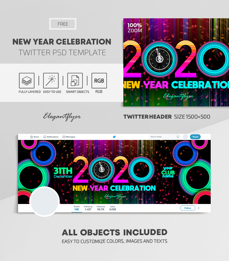 New Year Celebration – Free Twitter Header PSD Template