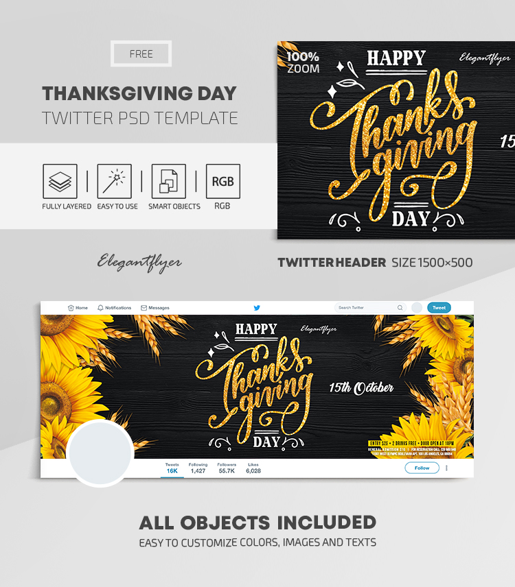 Thanksgiving Day – Free Twitter Header PSD Template