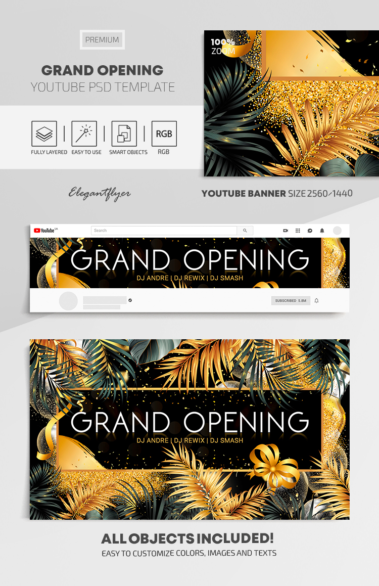 Grand Opening – Youtube Channel banner Premium PSD Template