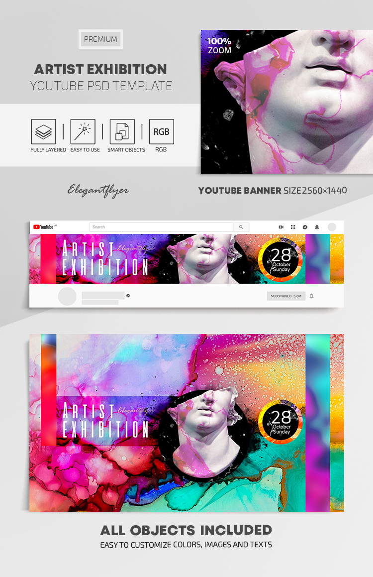 Artist Exhibition – Youtube Channel banner PSD Template