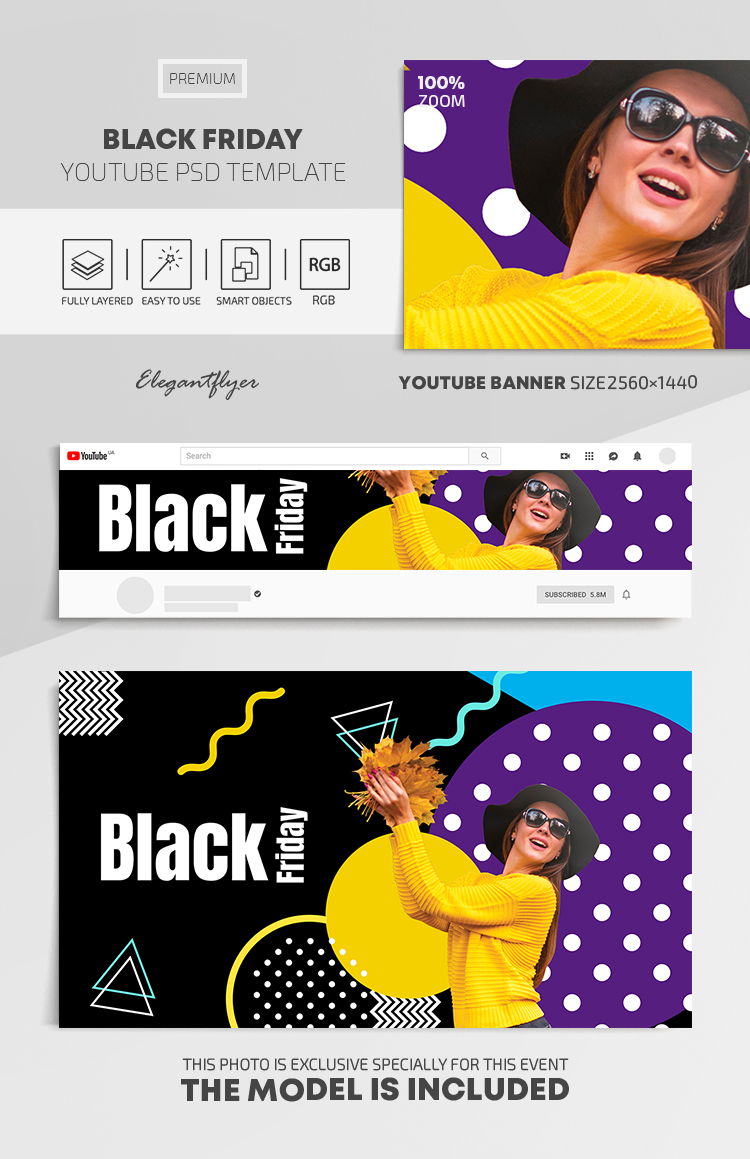 Black Friday – Youtube Channel banner Premium PSD Template