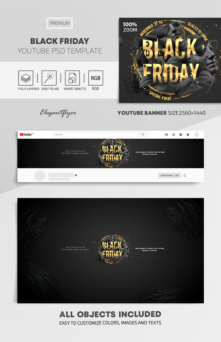 Black Friday – Youtube Channel banner PSD Template