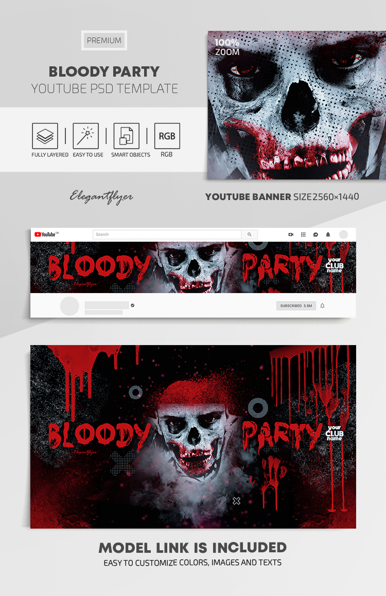 Bloody Party – Youtube Channel banner PSD Template