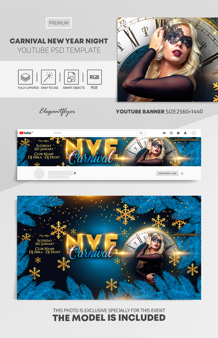Carnival New Year Night – Youtube Channel banner PSD Template