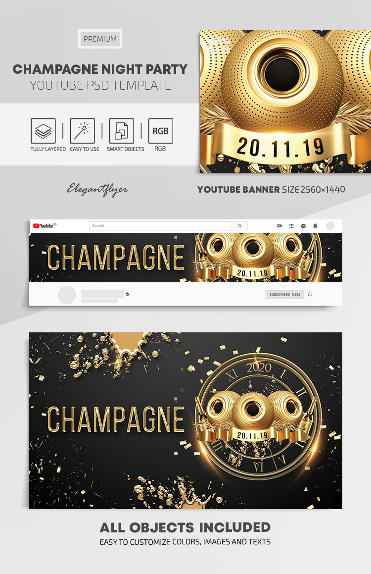 Champagne Night Party – Youtube Channel banner PSD Template