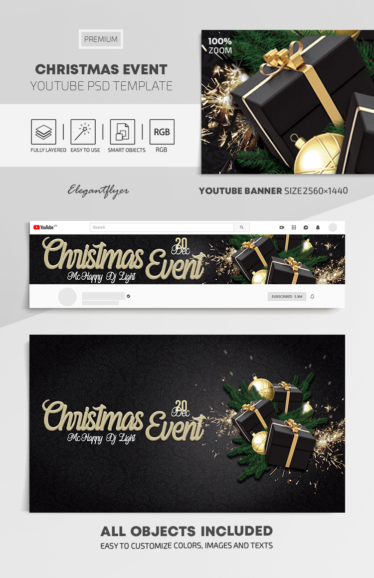 Christmas Event – Youtube Channel banner PSD Template
