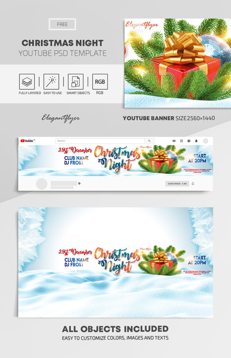 Christmas Night – Free Youtube Channel banner PSD Template