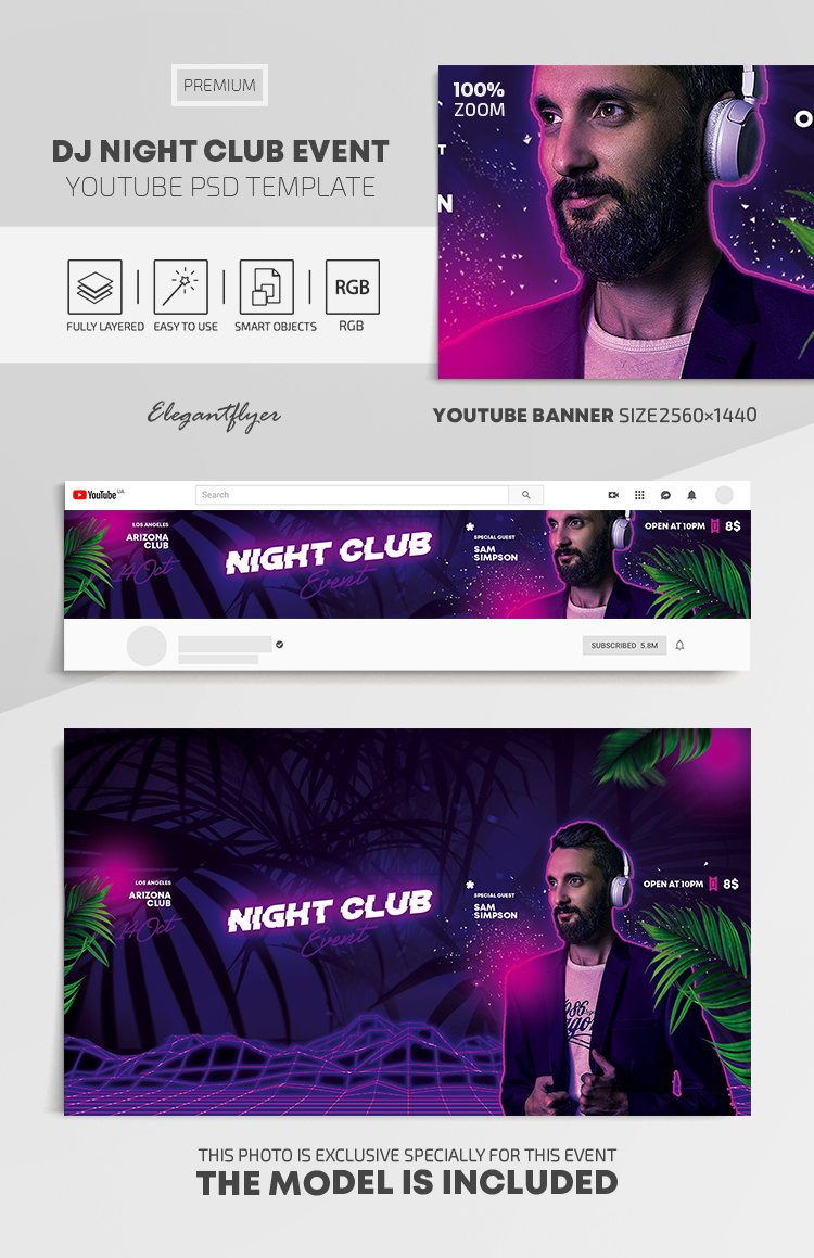 Dj Night Club Event – Youtube Channel banner PSD Template