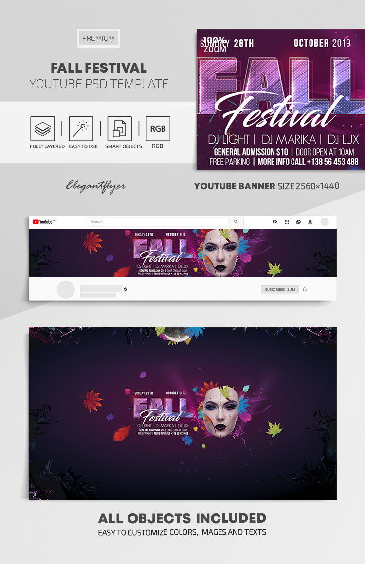 Fall Festival – Youtube Channel banner PSD Template