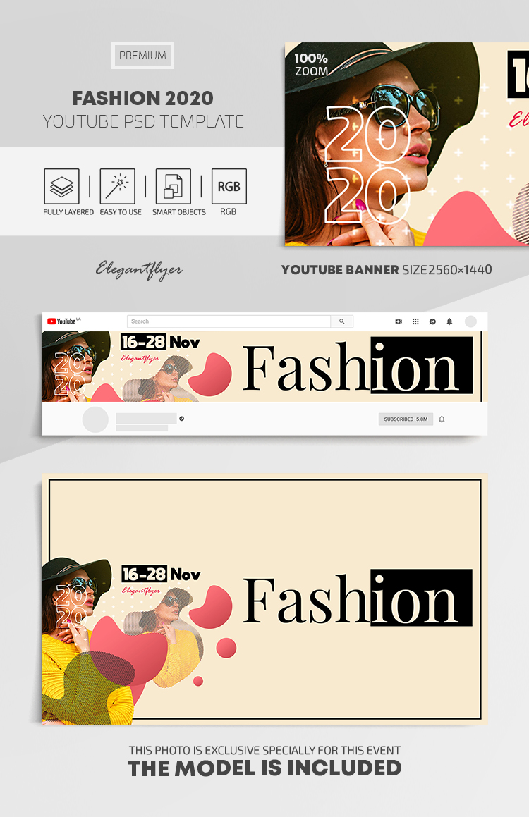Fashion 2020 – Youtube Channel banner PSD Template