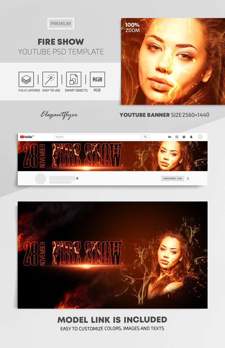 Fire Show – Youtube Channel banner PSD Template