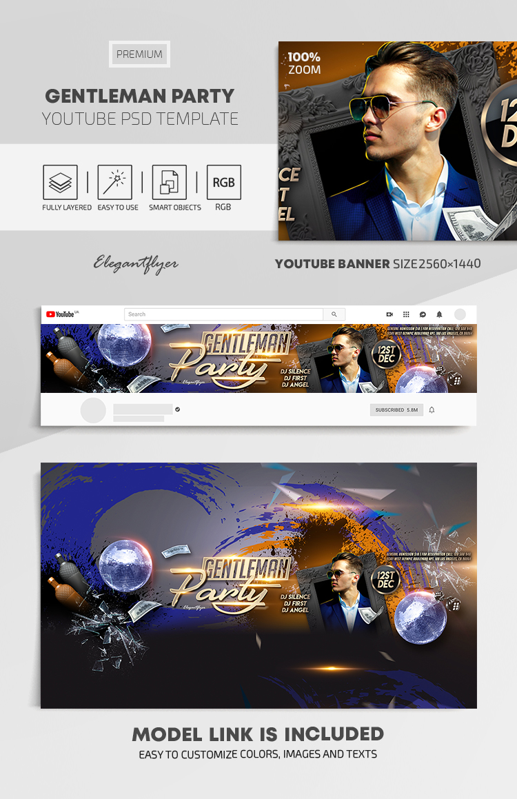 Gentleman Party – Youtube Channel banner PSD Template