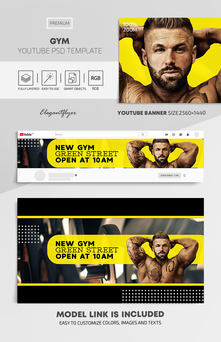 GYM – Youtube Channel banner PSD Template
