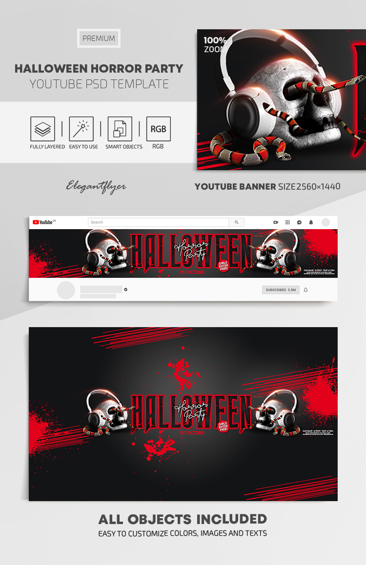 Halloween Horror Party – Youtube Channel banner PSD Template