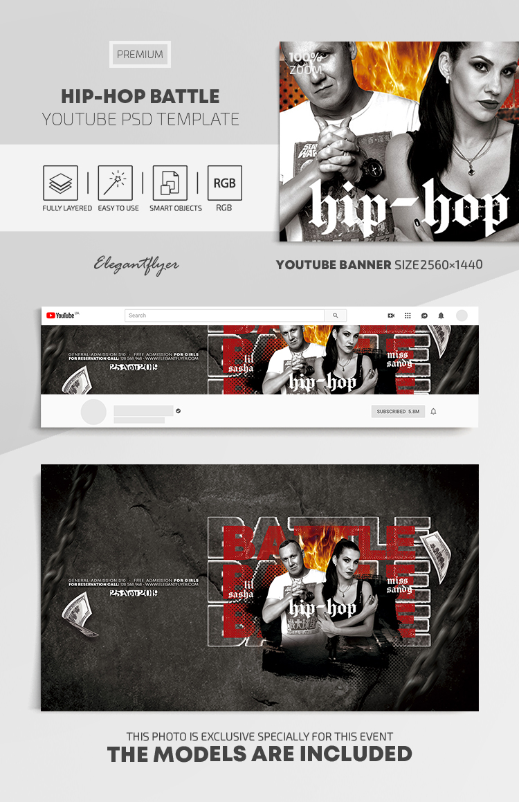 Hip-Hop Battle – Youtube Channel banner PSD Template