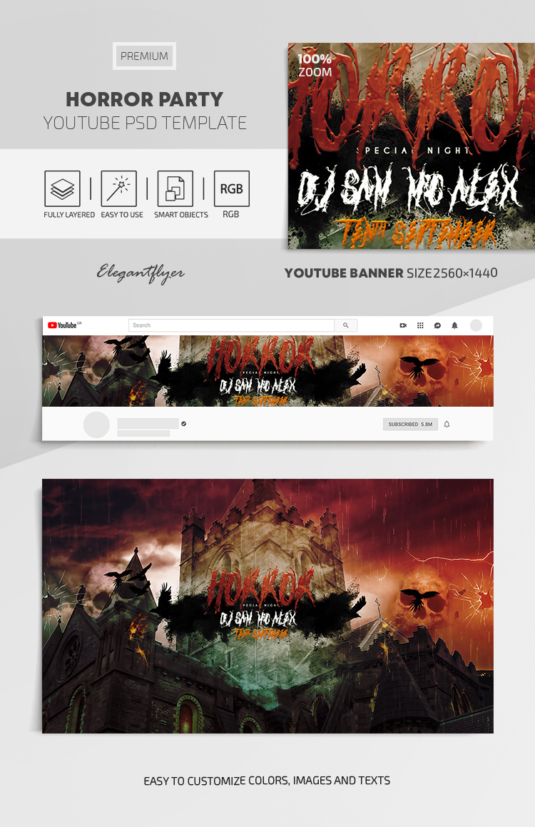 Horror Party – Youtube Channel banner PSD Template