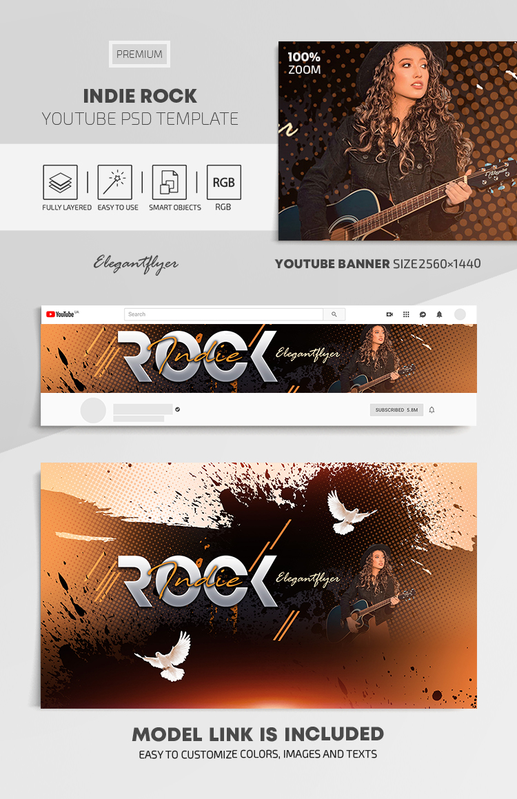 Indie Rock – Youtube Channel banner PSD Template