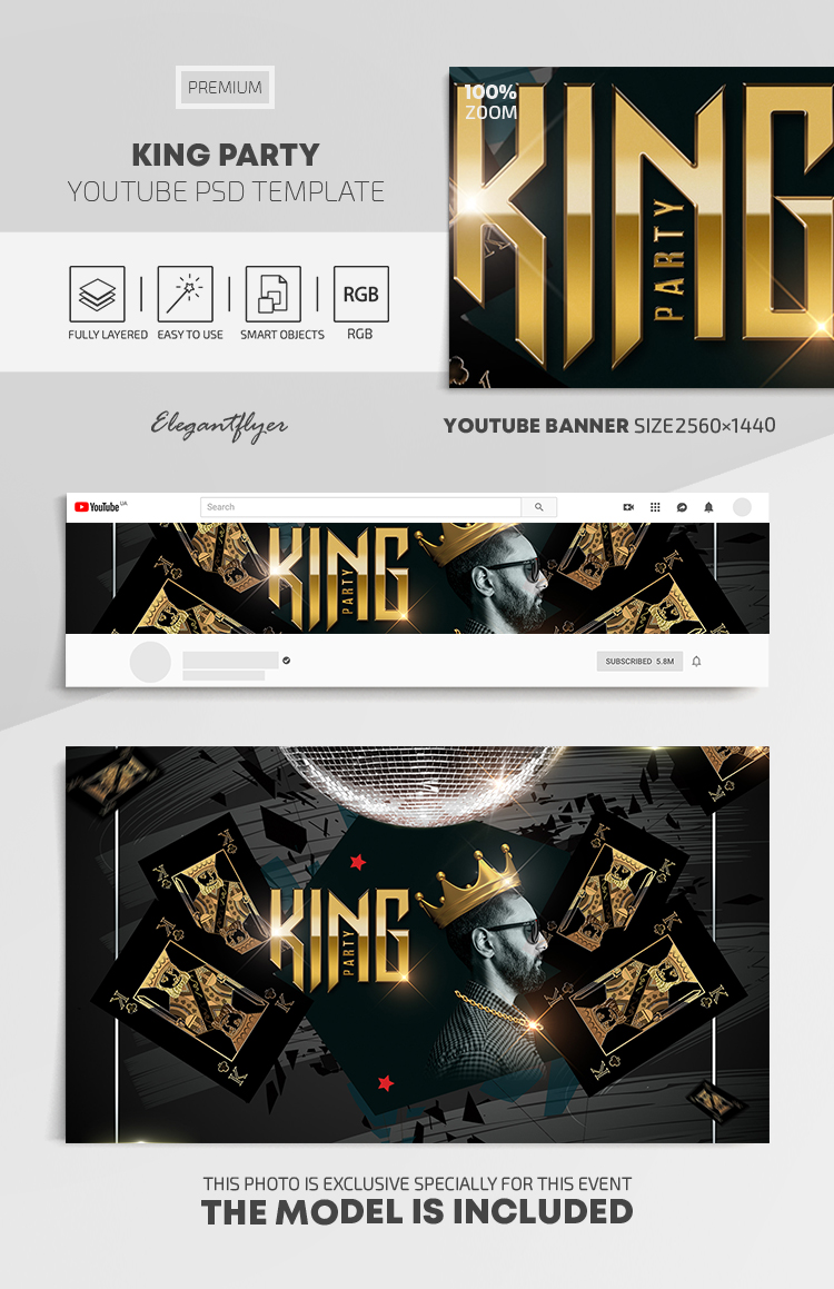 King Party – Youtube Channel banner PSD Template
