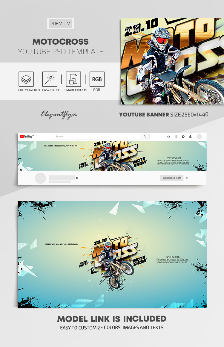 Motocross – Youtube Channel banner PSD Template