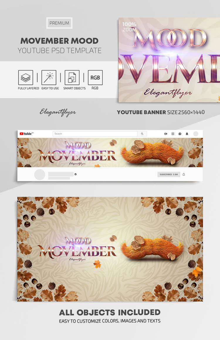 Movember Mood – Youtube Channel banner PSD Template