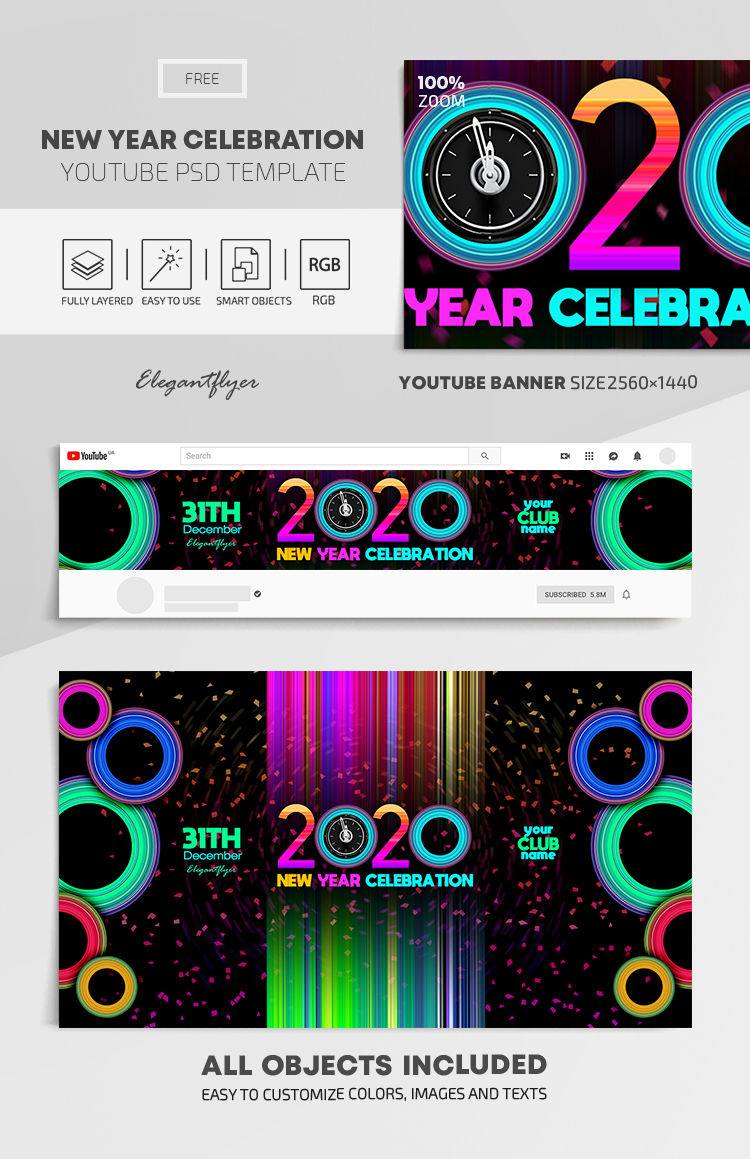 New Year Celebration – Free Youtube Channel banner PSD Template