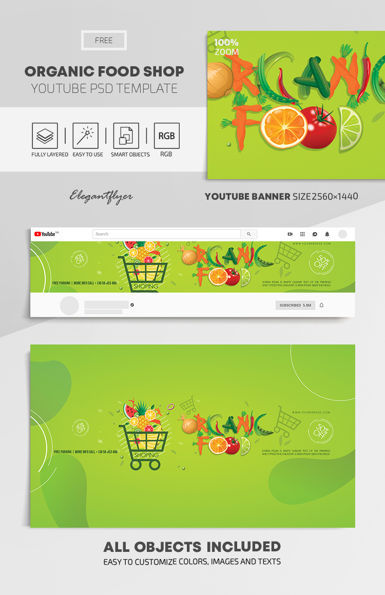 Organic Food Shop – Free Youtube Channel banner PSD Template