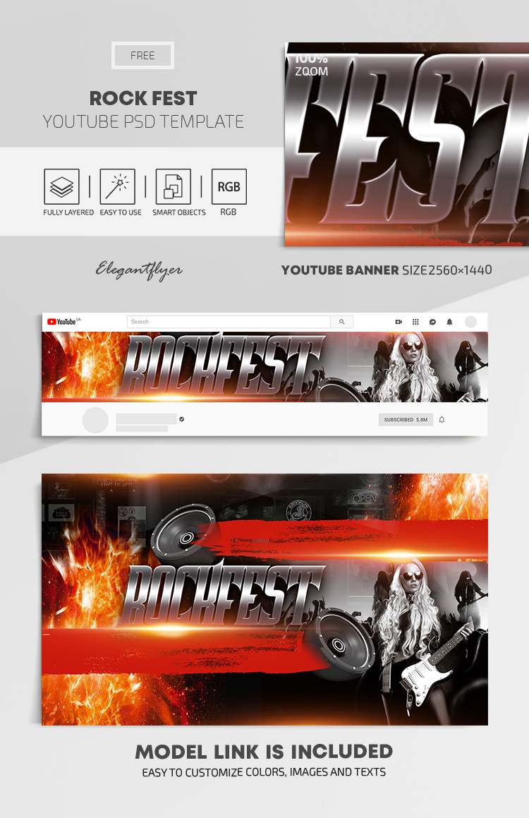 Rock Fest – Free Youtube Channel banner PSD Template