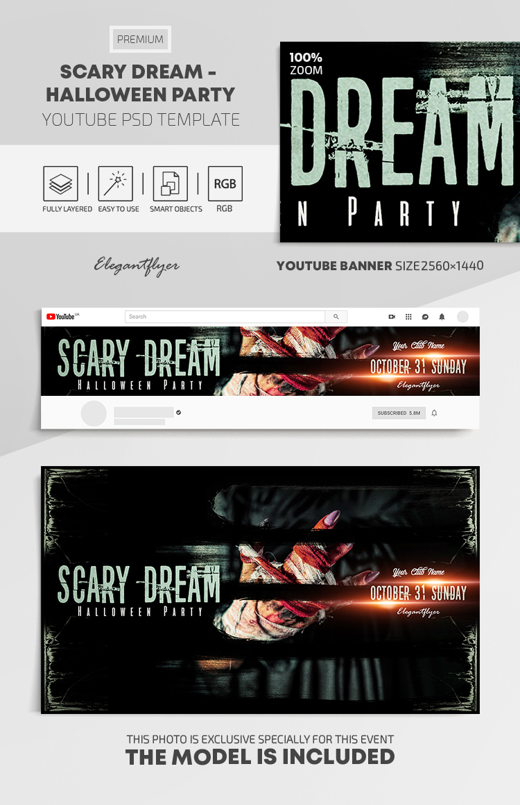 Scary Dream – Halloween Party – Youtube Channel banner PSD Template