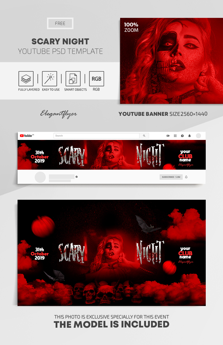 Scary Night – Free Youtube Channel banner PSD Template