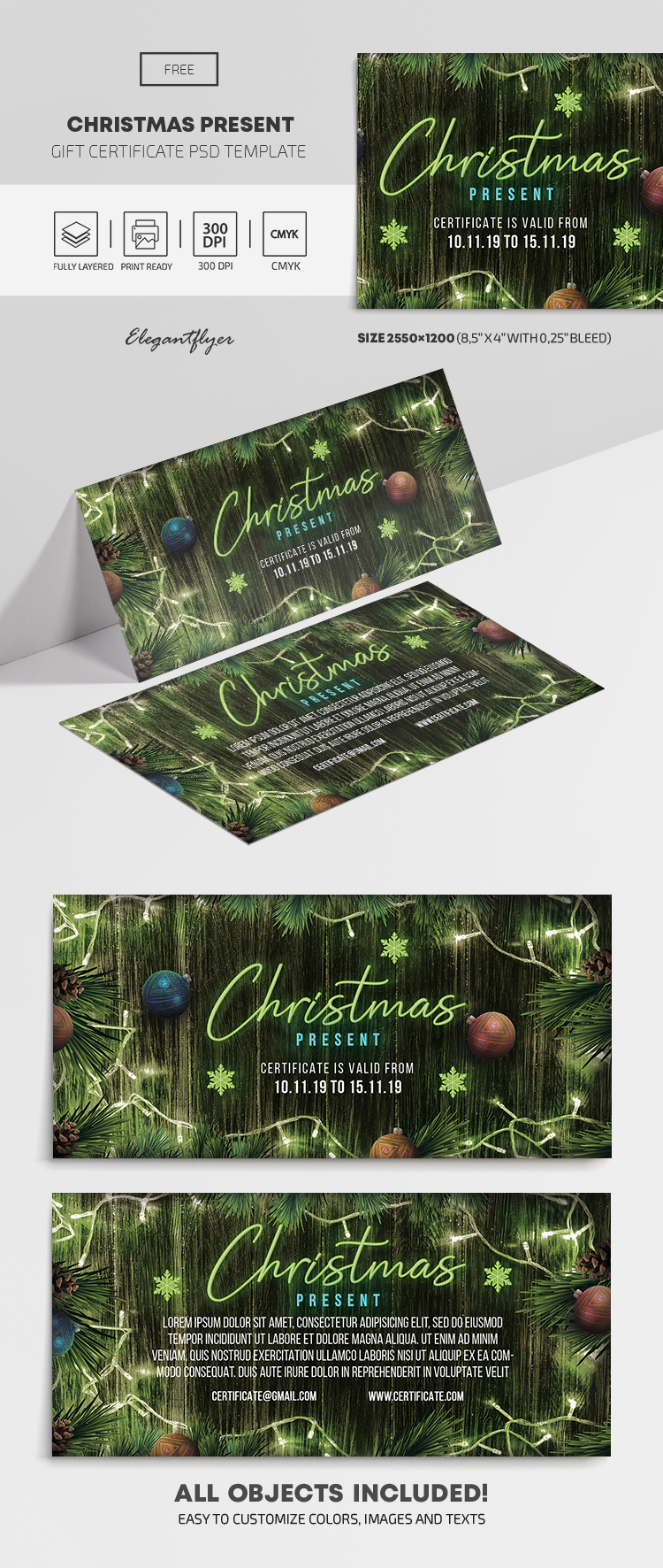 Christmas Present – Free Gift Certificate Template in PSD