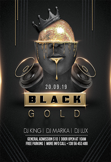 Black And Gold Party Premium Psd Flyer Template By