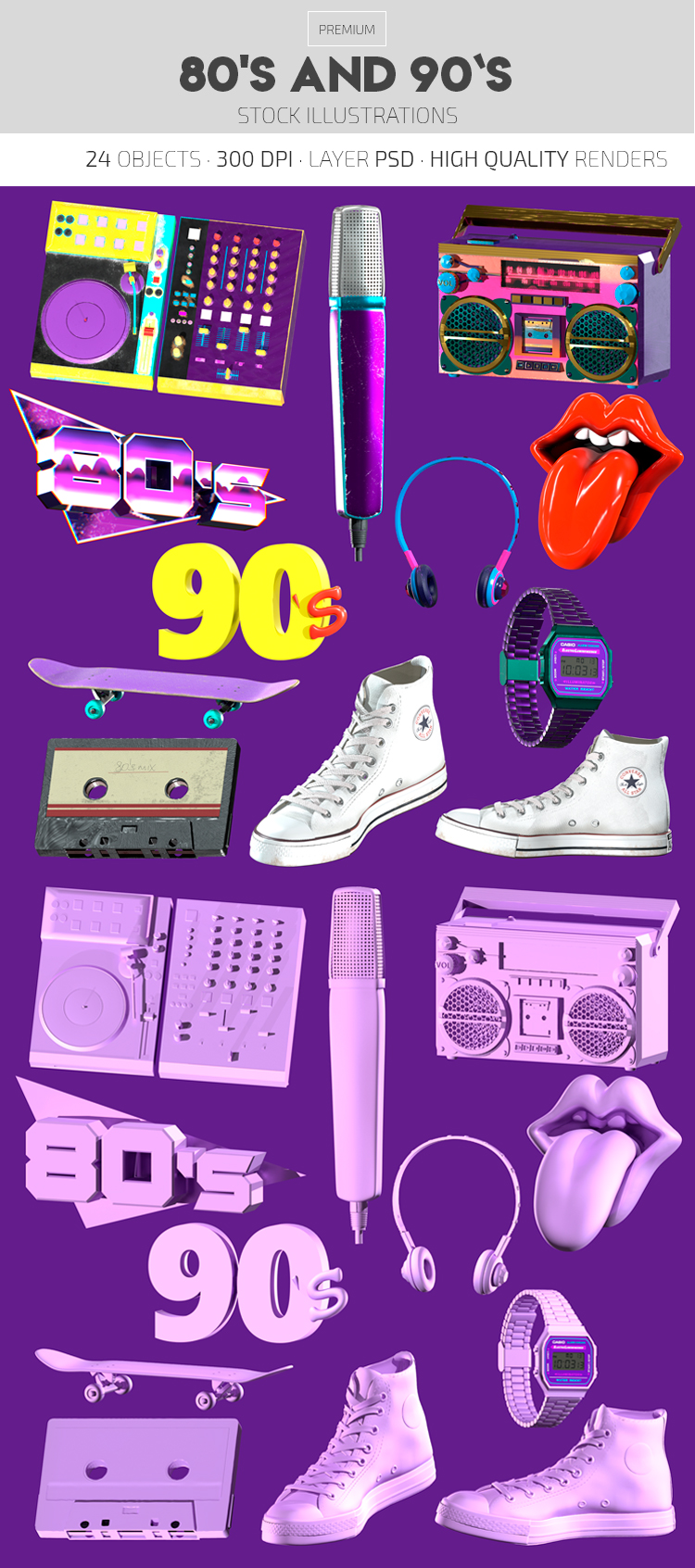 80s and 90s – Premium 3d Render Templates