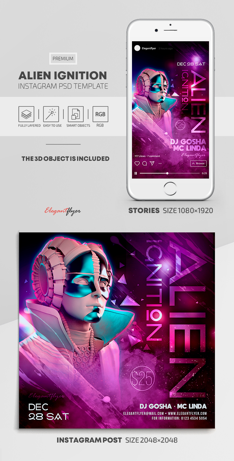 Alien Ignition – Instagram Stories Template in PSD + Post Templates