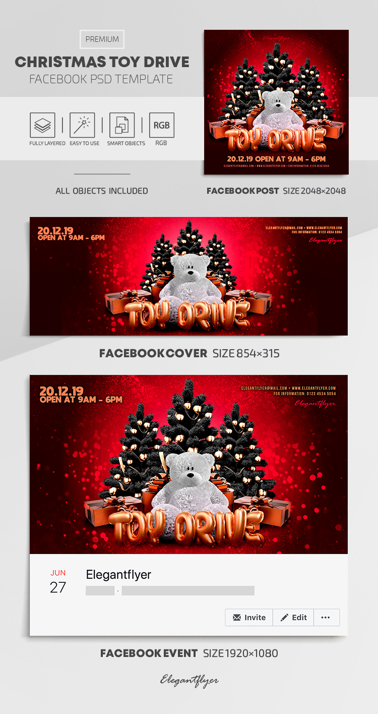 Christmas Toy Drive – Facebook Cover Template in PSD + Post + Event cover