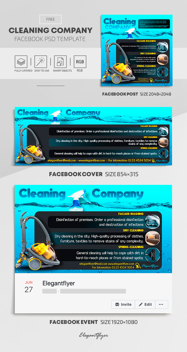 Cleaning Company – Free Facebook Cover Template in PSD + Post + Event cover