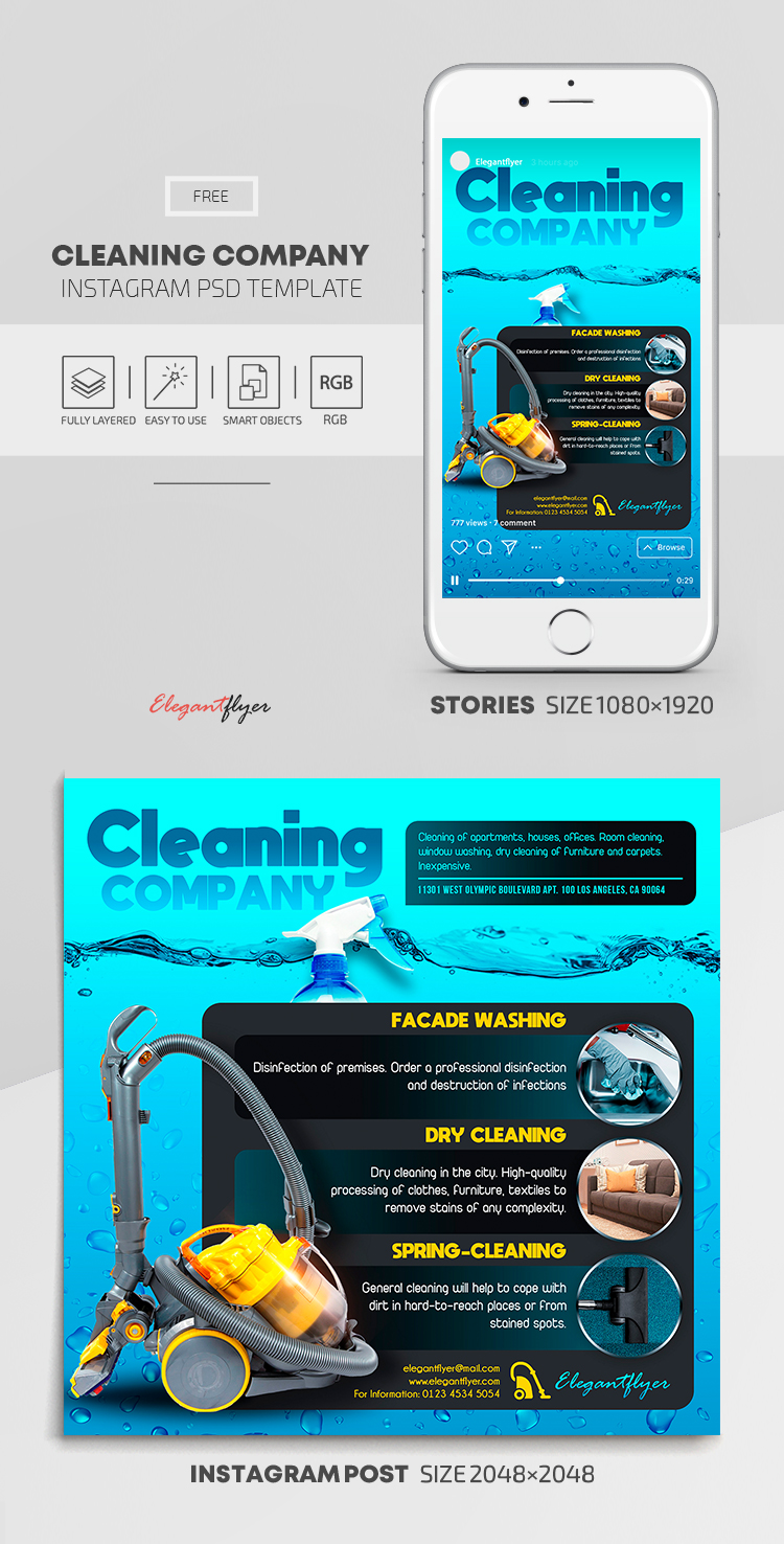 Cleaning Company – Free Instagram Stories Template in PSD + Post Templates
