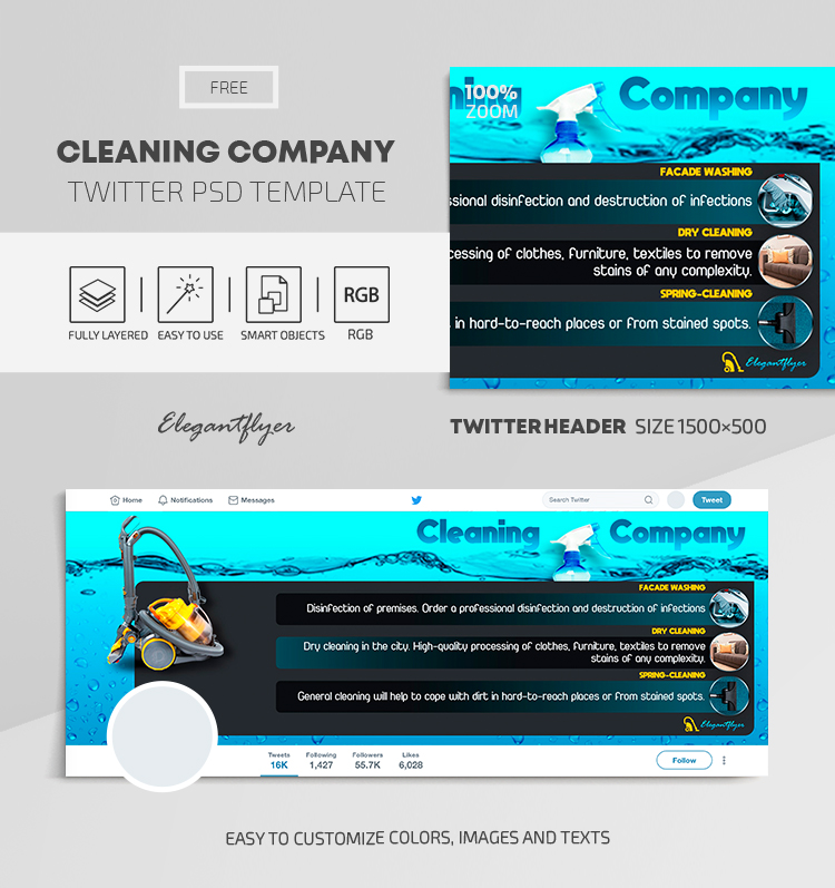 Cleaning Company – Free Twitter Header PSD Template