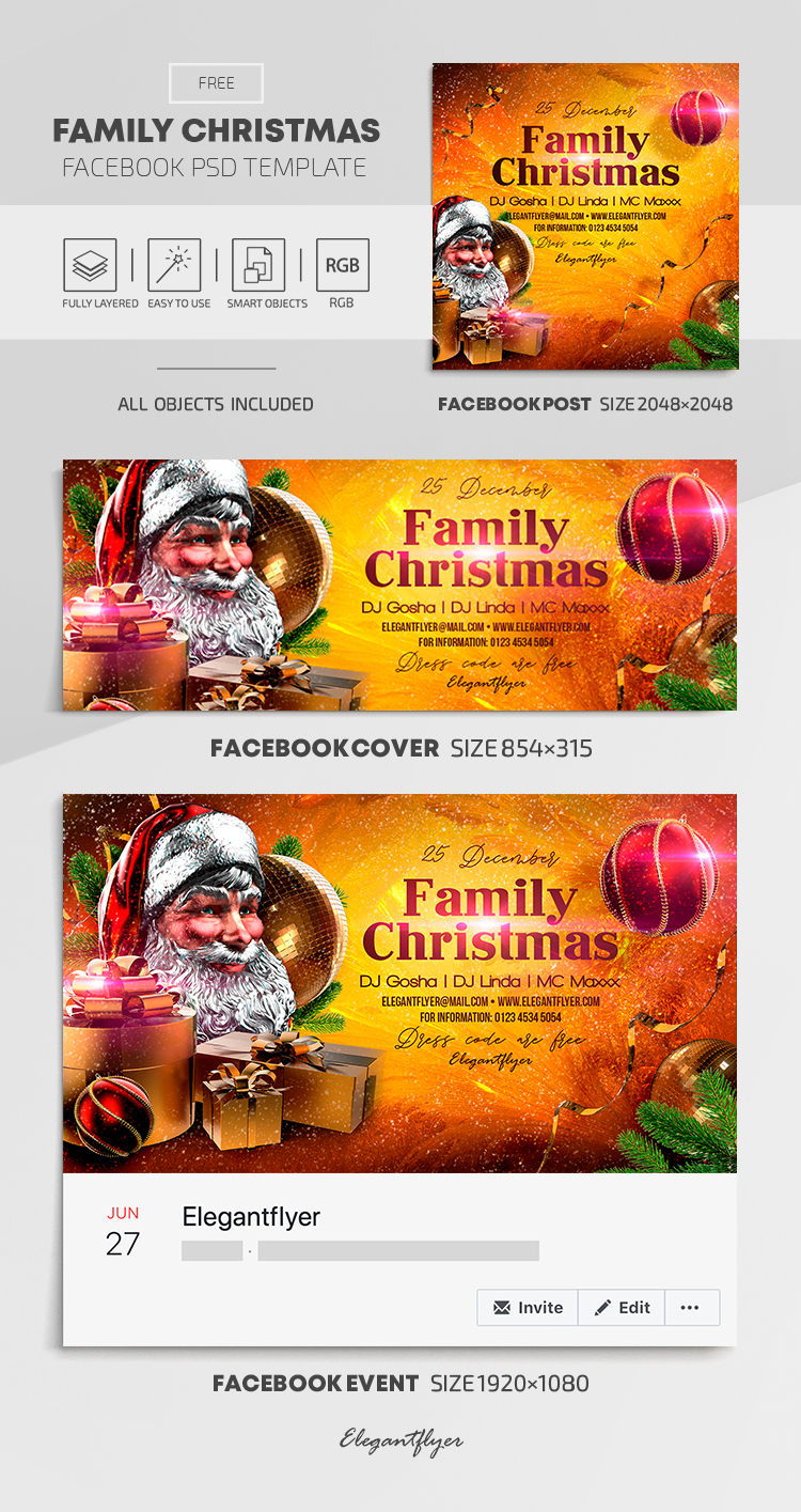 Family Christmas – Free Facebook Cover Template in PSD + Post + Event cover