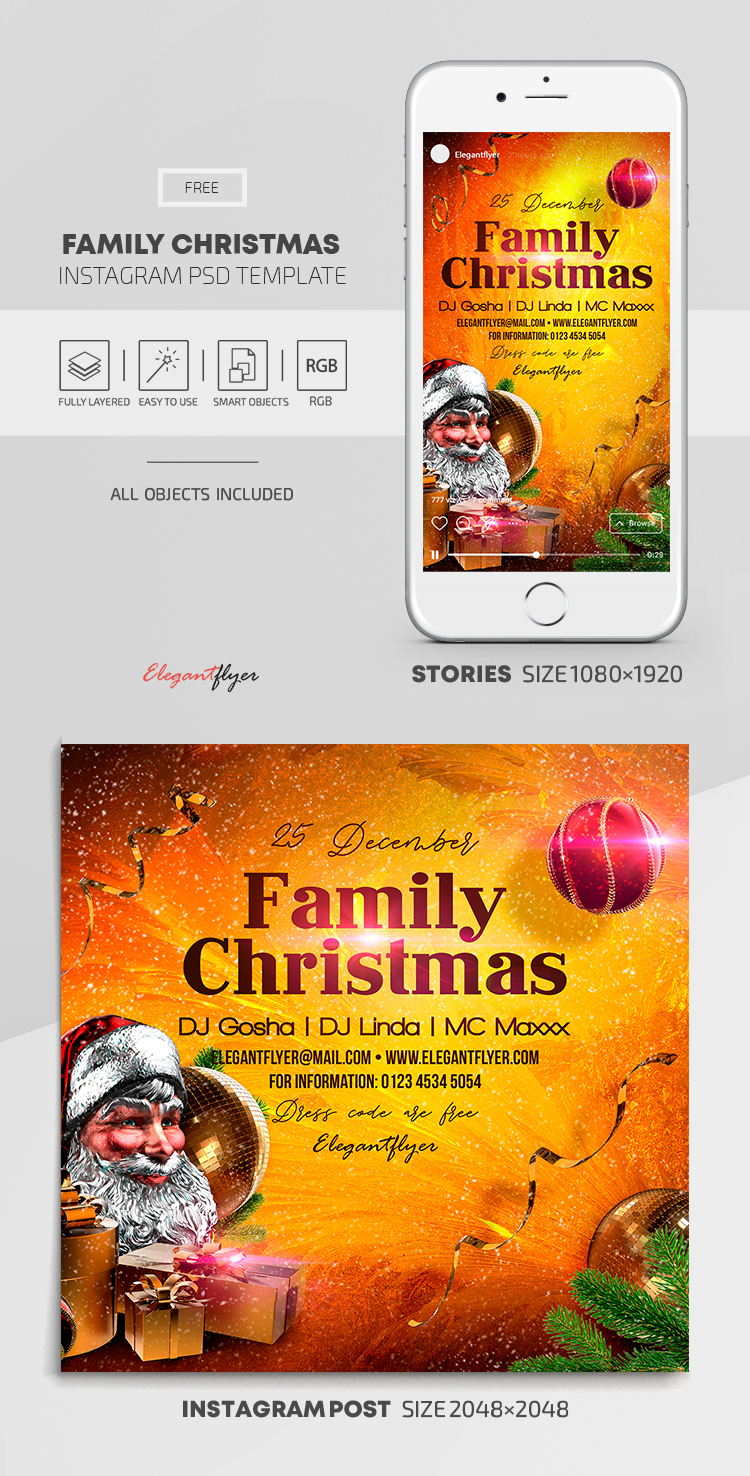 Family Christmas – Free Instagram Stories Template in PSD + Post Templates