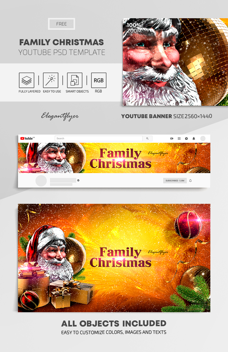 Family Christmas – Free Youtube Channel banner PSD Template