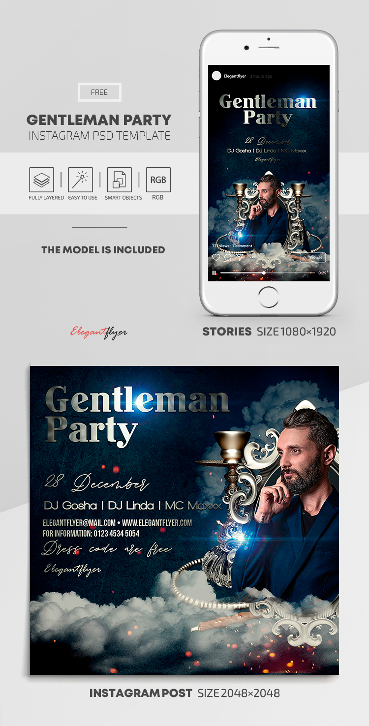 Gentleman Party – Free Instagram Stories Template in PSD + Post Templates