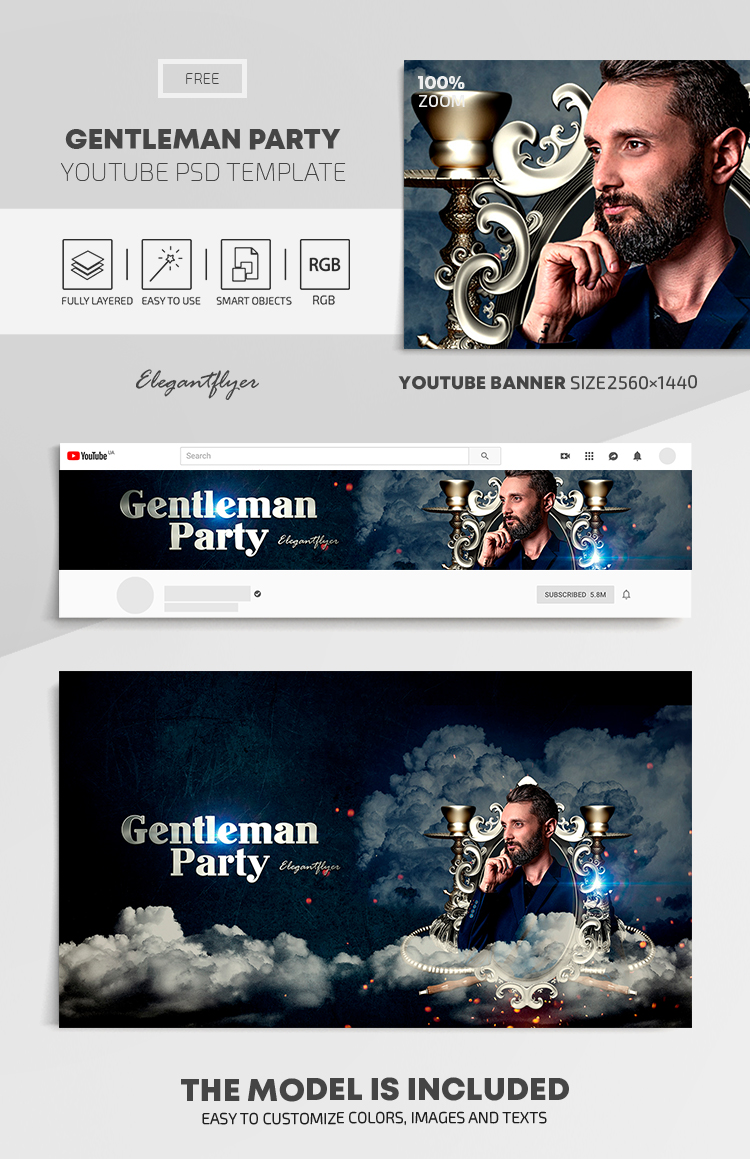 Gentleman Party – Free Youtube Channel banner PSD Template