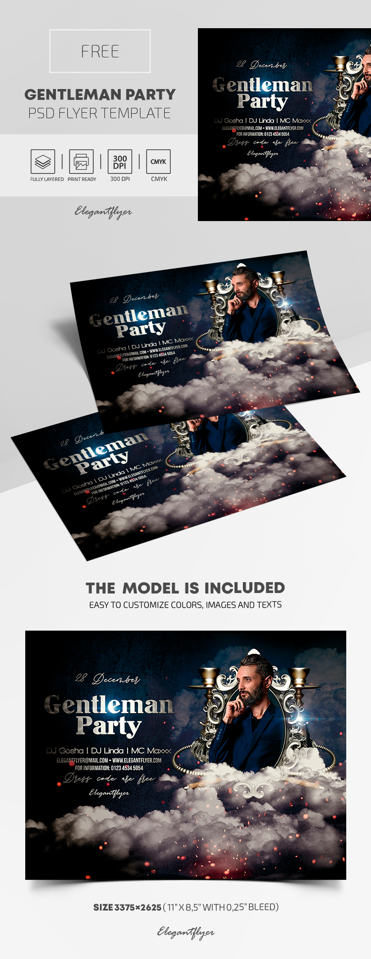 Gentleman Party – Free PSD Flyer Template