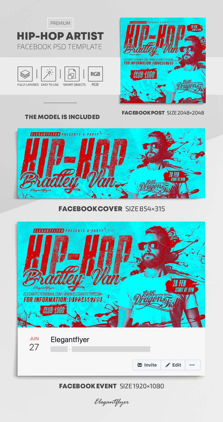 Hip-Hop Artist – Facebook Cover Template in PSD + Post + Event cover