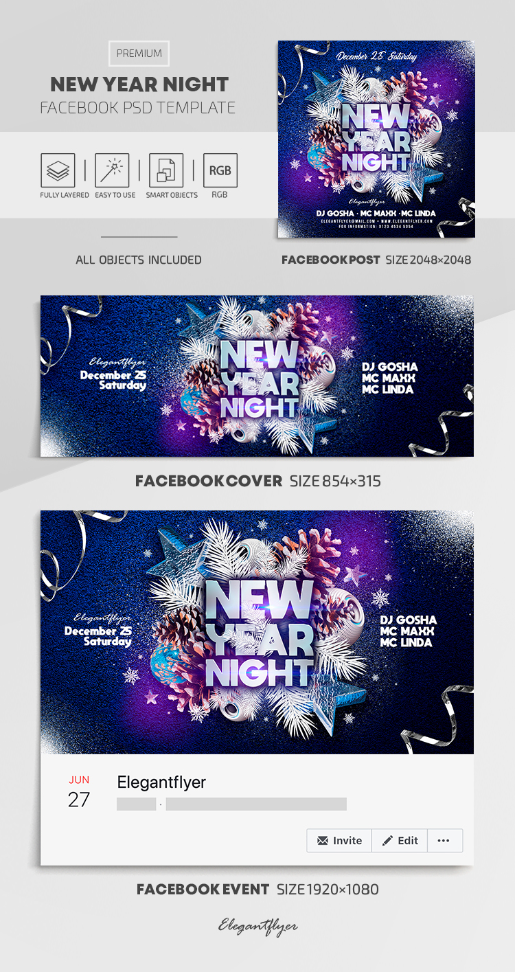 New Year Night – Facebook Cover Template in PSD + Post + Event cover