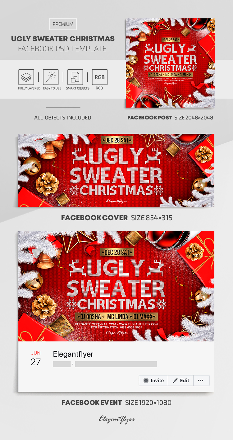 Ugly Sweater Christmas – Facebook Cover Template in PSD + Post + Event cover