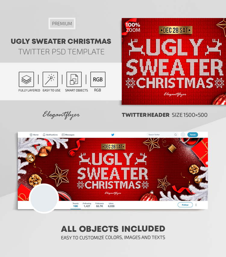Ugly Sweater Christmas – Twitter Header PSD Template